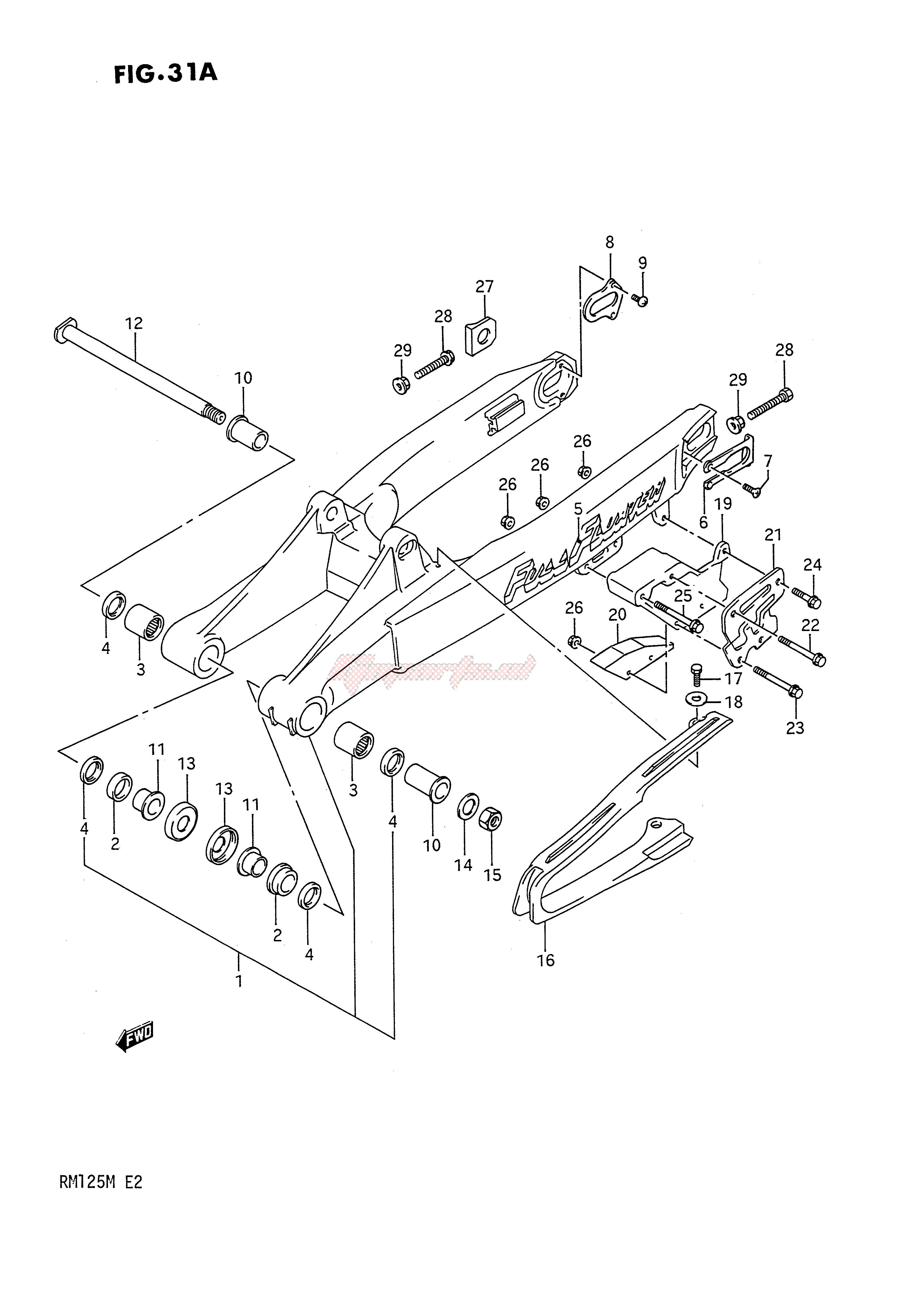 REAR SWINGING ARM (MODEL L) blueprint