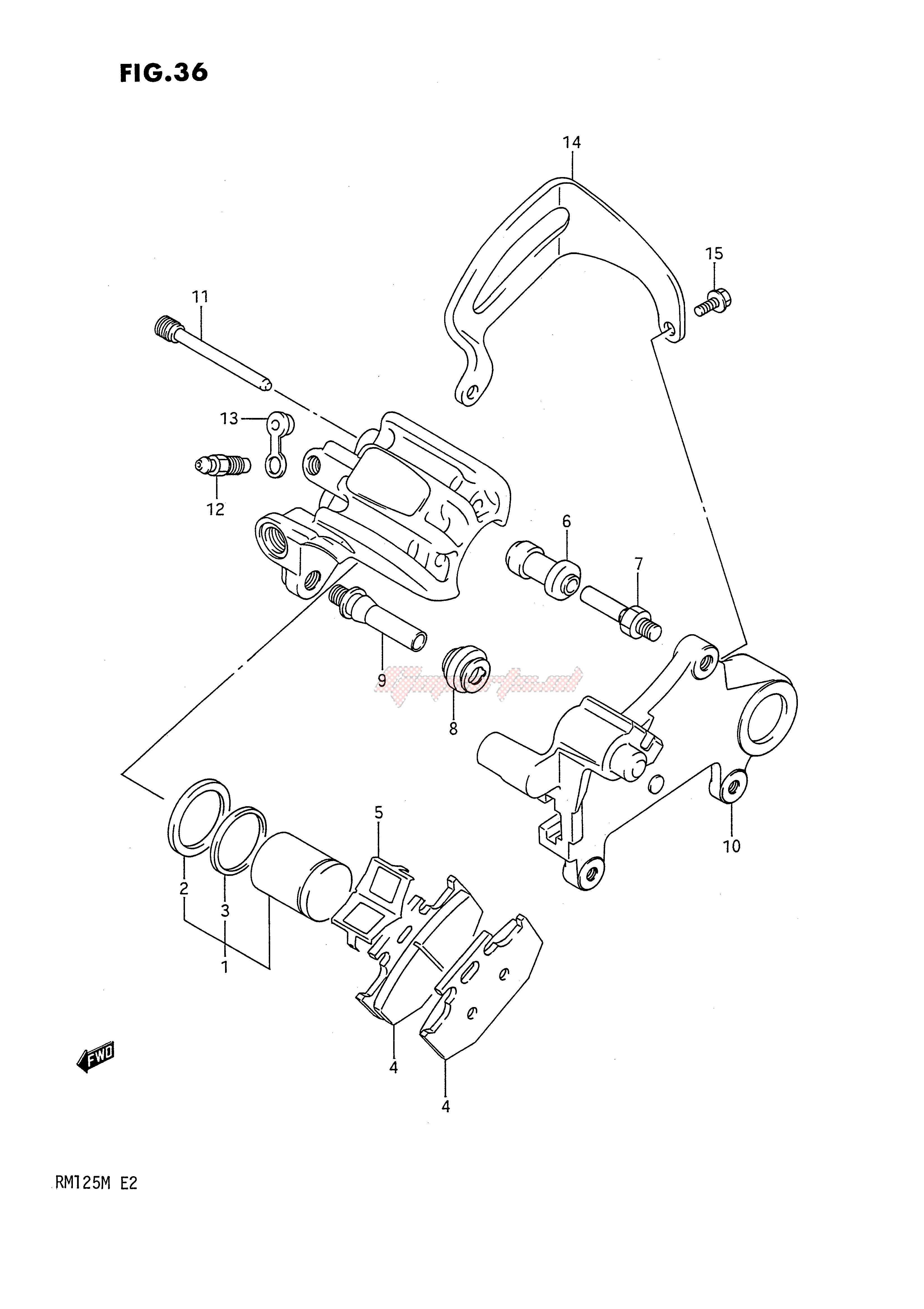 REAR CALIPERS (MODEL K) blueprint