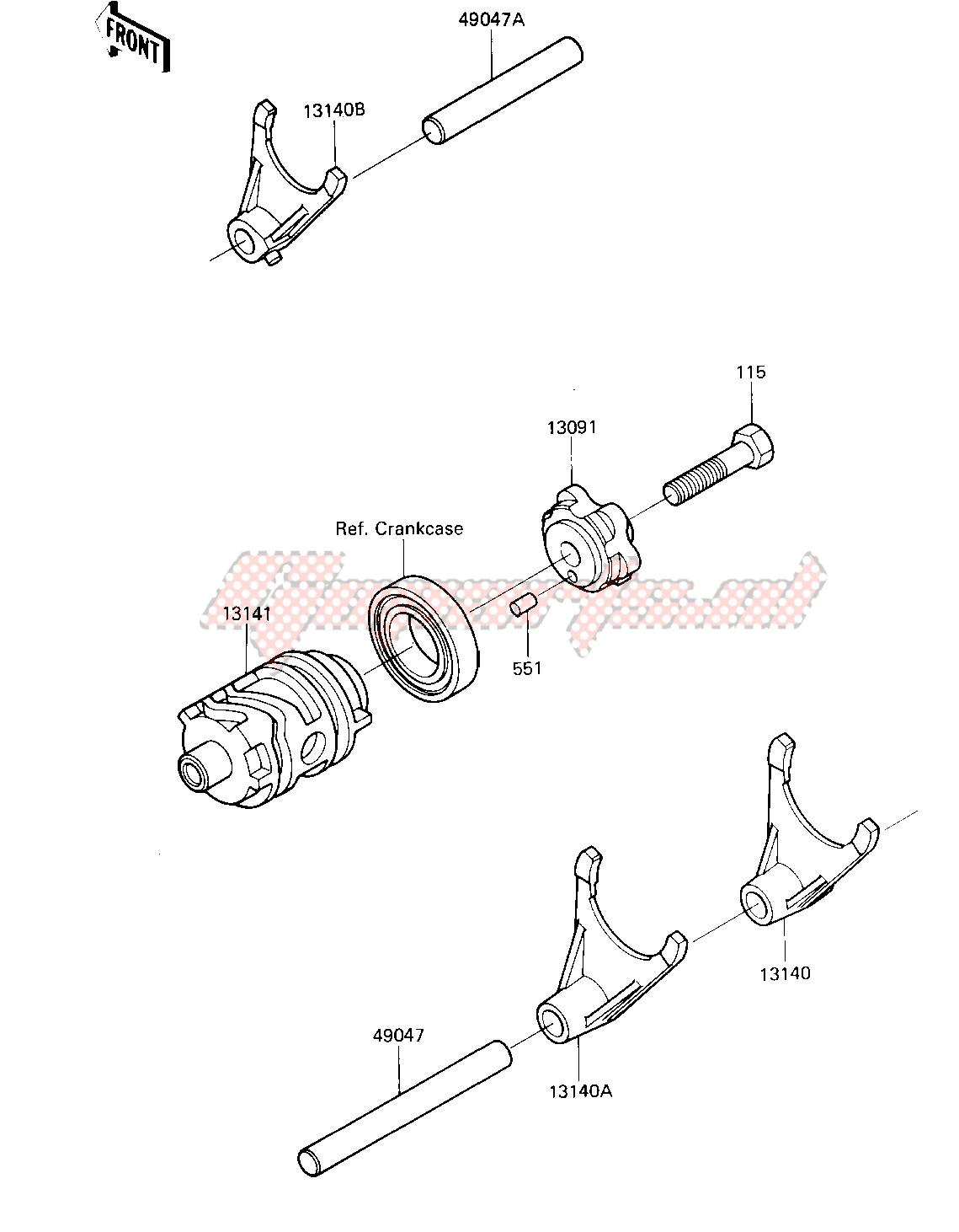 GEAR CHANGE DRUM & FORKS -- 85 A2- - image