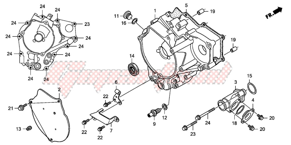 -REAR CRANKCASE COVER (TRX250EX1/2)