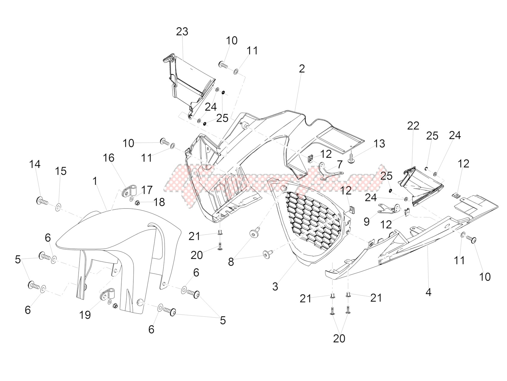 Chassis-Front mudguard-Pillar