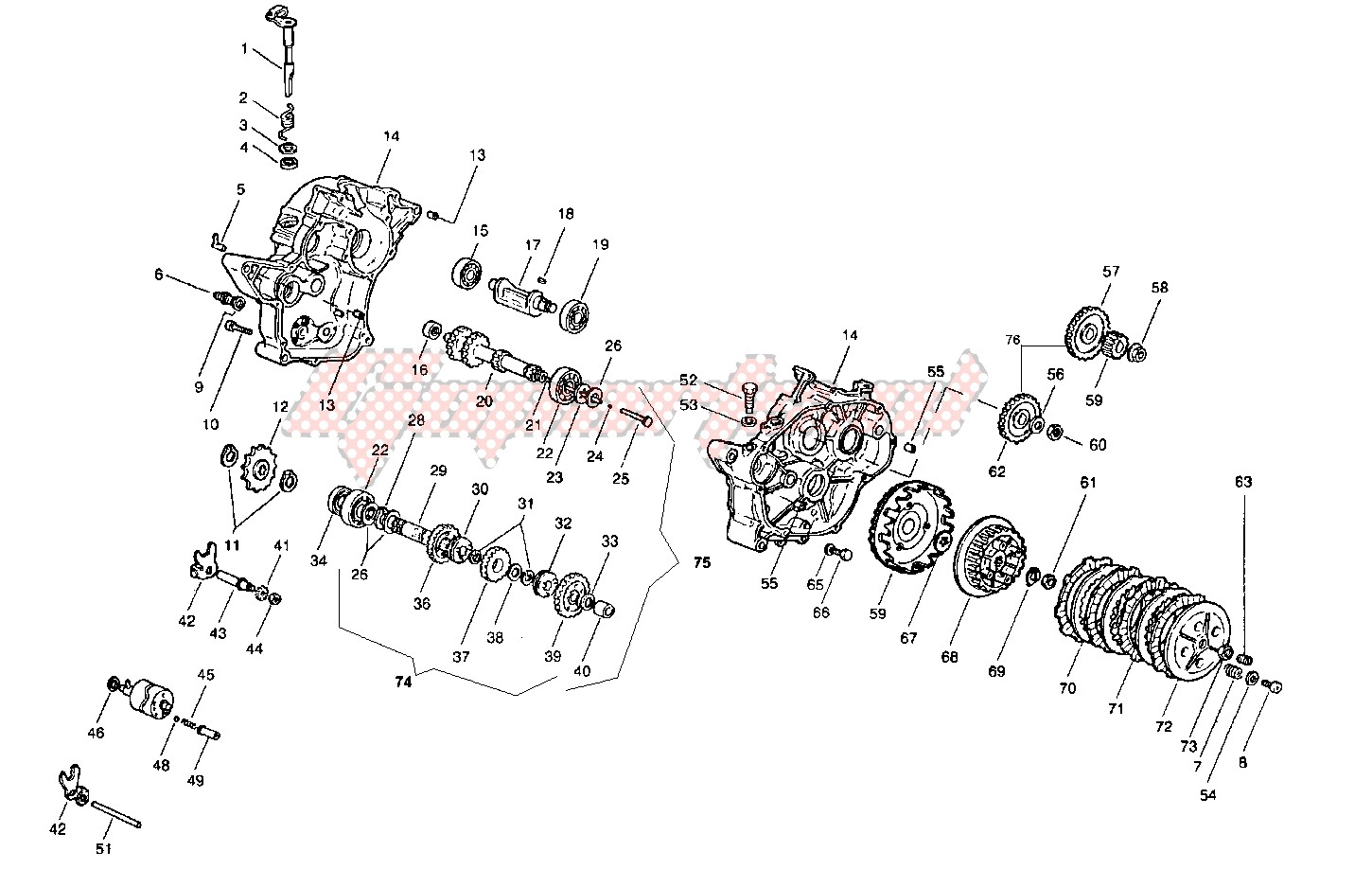 Crankcase - clutch - transmission image