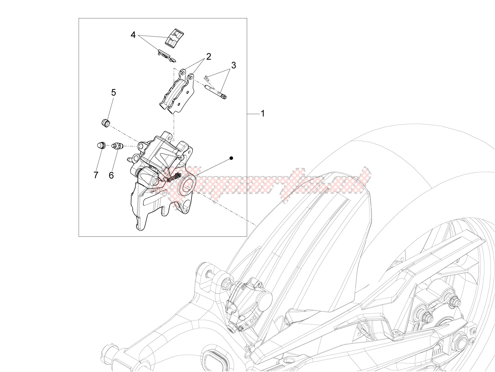 Brake system-Rear brake caliper