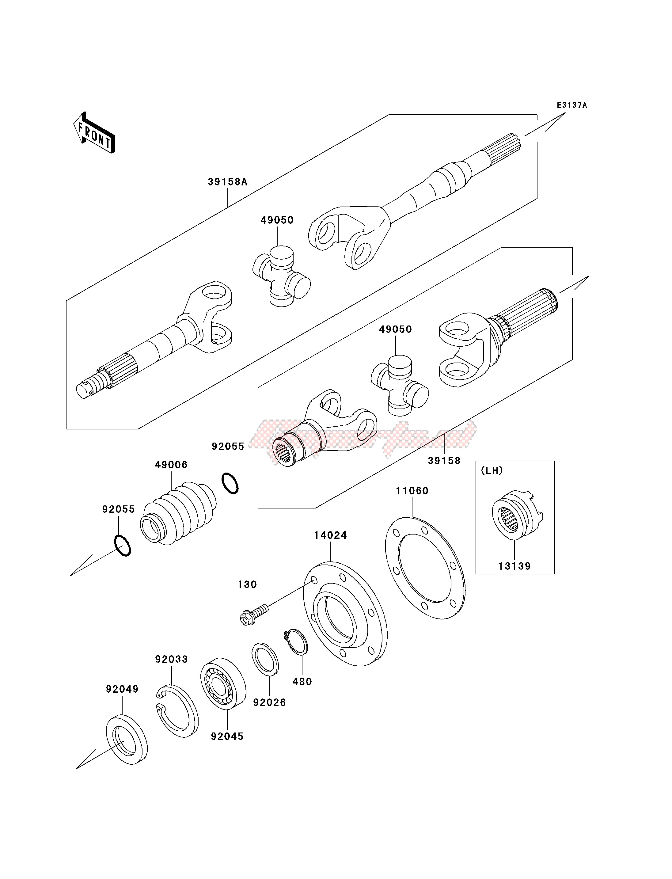 Frame-DRIVE SHAFT-REAR-- KAF620-G4_G5- -