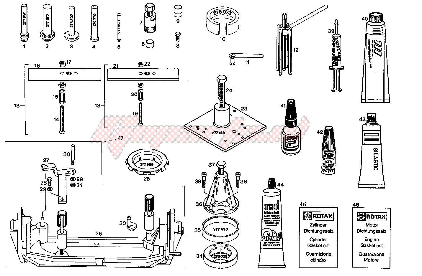 Special tools-Repair tools - gasket set