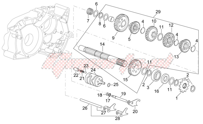Engine-Gearbox driven shaft