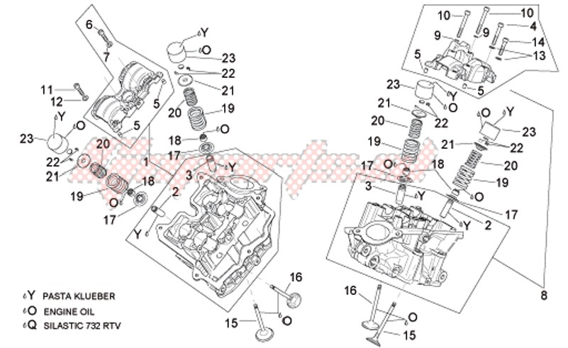 Cylinder head and valves image