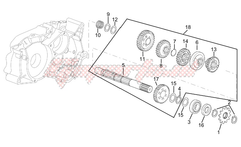 Driven shaft 4 speed gearbox image