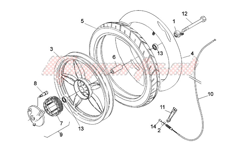 Frame-Front wheel - drum brake