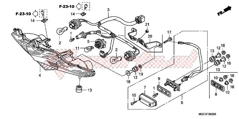 TAILLIGHT (VFR1200FA/FB/FDA/FDB) blueprint