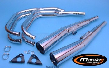 Product image: Marving - 01H5001 - Exhaust 4/2 MASTER CB 750 KZ Complete exhaust pipe  Approvede Exhaust Damper Chrome