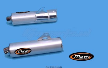 Product image: Marving - 01S2153 - Silencer  Rond GSX 1100 R W 96/97 Approved - Sold as 1 pair Ø104 Chrome Cover Alu