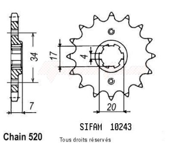 Product image: Sifam - 10243CZ13 - Sprocket Honda Cr 79-85 125 Cr 1979-1985 10243cz   13 teeth   TYPE : 520
