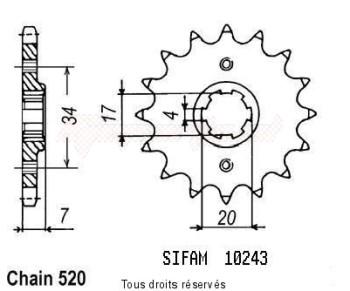 Product image: Sifam - 10243CZ14 - Sprocket Honda Cr 79-85 125 Cr 1979-1985 10243cz   14 teeth   TYPE : 520