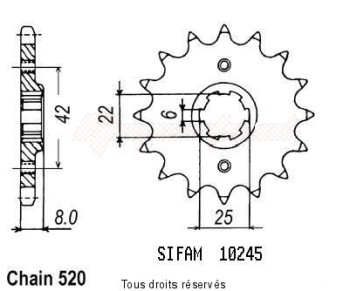Product image: Sifam - 10245CZ14 - Sprocket Xls 500 79-81 Xl 250 R Prolink 83-88 10245cz   14 teeth   TYPE : 520