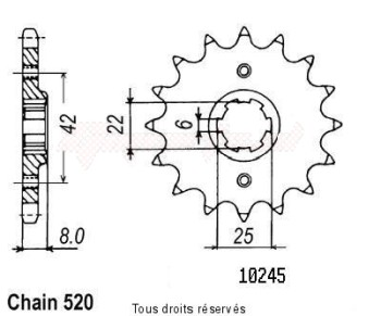 Product image: Sifam - 10245CZ15 - Sprocket Xl 600 Lm Pd04 85-88 Xl 600 R 83-87 10245cz   15 teeth   TYPE : 520