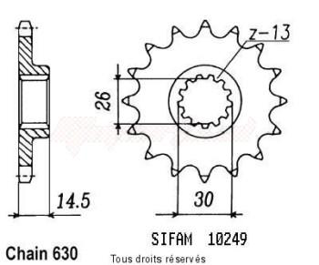 Product image: Sifam - 10249CZ15 - Sprocket Cbx 1000 Z 79-80   10249cz   15 teeth   TYPE : 630