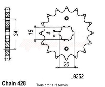 Product image: Sifam - 10252CZ14 - Sprocket Cg 125 Brésil 85-98 Cg 125 77-84 10252cz   14 teeth   TYPE : 428