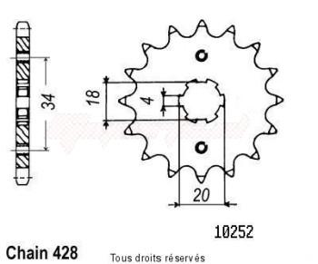Product image: Sifam - 10252CZ16 - Sprocket Nx 125 89-98 Xl 125 R Paris Dakar 83-91 10252cz   16 teeth   TYPE : 428