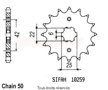 Product image: Sifam - 10259CZ16 - Sprocket Cm 400 Tc 79-81   10259cz   16 teeth   TYPE : 530