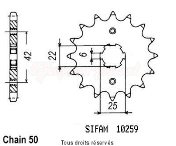 Product image: Sifam - 10259CZ17 - Sprocket Cb 400 F 75-79   10259cz   17 teeth   TYPE : 530