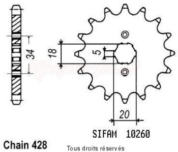 Product image: Sifam - 10260CZ15 - Sprocket Dt 125 Ténéré 89   10260cz   15 teeth   TYPE : 428