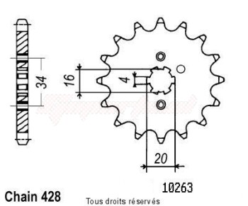 Product image: Sifam - 10263CZ14 - Sprocket Sr 125 Se 80-02 Xt 125 88-94 10263cz   14 teeth   TYPE : 428