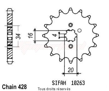 Product image: Sifam - 10263CZ15 - Sprocket Dt 125 Lc1 84-87 Tzr 80 Rr 96 10263cz   15 teeth   TYPE : 428