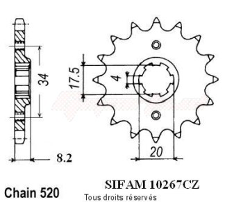Product image: Sifam - 10267CZ13 - Sprocket 250 Xlr Md11      13 teeth   TYPE : 520
