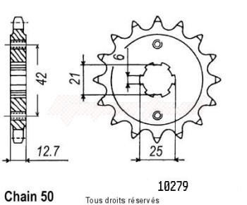 Product image: Sifam - 10279CZ18 - Sprocket Cb 750 Four 71-78   10279cz   18 teeth   TYPE : 530
