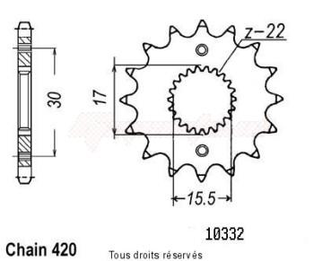 Product image: Sifam - 10332CZ15 - Sprocket Honda 80 Cr 1986-2001 10332cz   15 teeth   TYPE : 420