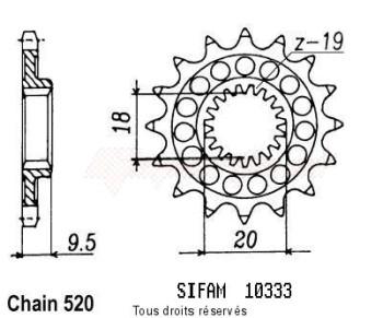 Product image: Sifam - 10333CZ13 - Sprocket Honda 125 Cr 86   10333cz   13 teeth   TYPE : 520