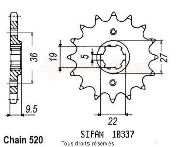 Product image: Sifam - 10337CZ13 - Sprocket Honda 250 Cr 1982-1985 10337cz   13 teeth   TYPE : 520
