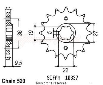 Product image: Sifam - 10337CZ14 - Sprocket Honda 250 Cr 1982-1985 10337cz   14 teeth   TYPE : 520