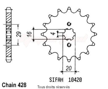 Product image: Sifam - 10420CZ14 - Sprocket Ts 80 X 84-85   10420cz   14 teeth   TYPE : 428