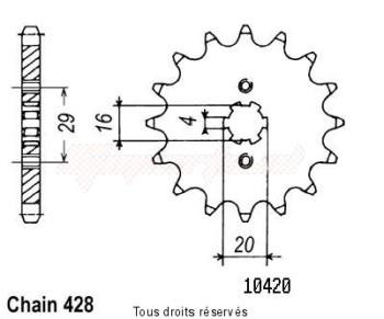 Product image: Sifam - 10420CZ15 - Sprocket Ts 125 R 90-96 Ts 125 Er - Ts 125 X 10420cz   15 teeth   TYPE : 428