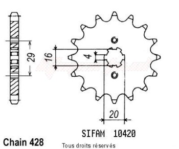 Product image: Sifam - 10420CZ16 - Sprocket Rg 125 Gamma 92-96 Rg 125 Wolf 92-95 10420cz   16 teeth   TYPE : 428