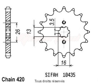 Product image: Sifam - 10435CZ11 - Sprocket Dt 50 Mx 83-95   10435cz   11 teeth   TYPE : 420