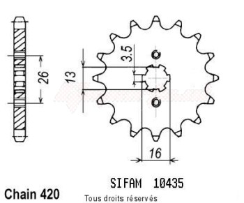 Product image: Sifam - 10435CZ13 - Sprocket Dt 50 Mx 81-85   10435cz   13 teeth   TYPE : 420