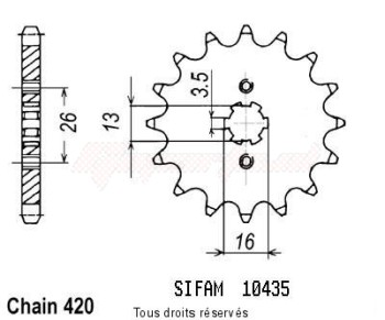 Product image: Sifam - 10435CZ14 - Sprocket Dt 50 Mx 81-85   10435cz   14 teeth   TYPE : 420