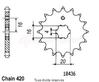 Product image: Sifam - 10436CZ13 - Sprocket Kawasaki Type 420 60/80 Kx 1985-2001 IDEM 12041CZ EN 428   13 teeth   TYPE : 420