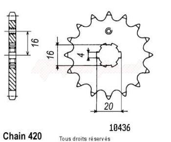 Product image: Sifam - 10436CZ15 - Sprocket Kawasaki 60/80 Kx 1985-2001 IDEM 12041CZ EN 428   15 teeth   TYPE : 420