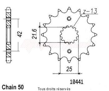Product image: Sifam - 10441CZ16 - Sprocket Gsx-r 1100 95-98 Type 53 Zx-9r 900 Ninja 94-98 10441cz   16 teeth   TYPE : 530