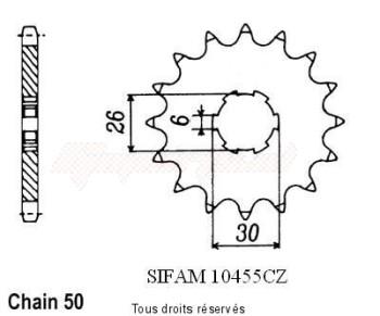 Product image: Sifam - 10455CZ17 - Sprocket Xj 650 86-90 Xs 650 Se 78-83     17 teeth   TYPE : 530