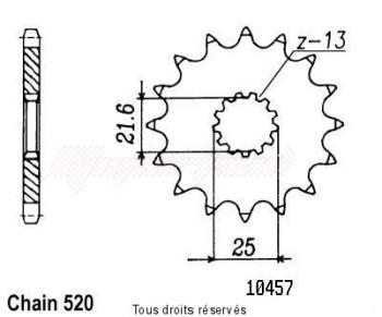 Product image: Sifam - 10457CZ13 - Sprocket Yamaha Kawasaki   Type 5 250 Yz/400 Wr 99-01 10457cz   13 teeth   TYPE : 520