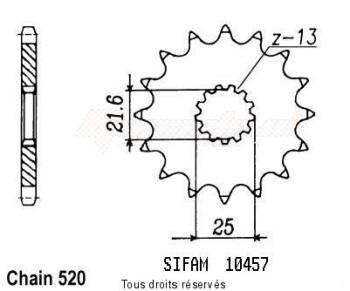 Product image: Sifam - 10457CZ16 - Sprocket Gs 500 E 88-93 Xt 500 76-89 10457cz   16 teeth   TYPE : 520