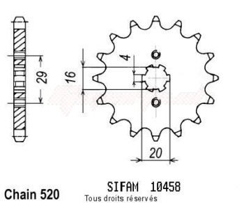 Product image: Sifam - 10458CZ12 - Sprocket Kawasaki Yamaha 125 Kx 1983-1993 10458cz   12 teeth   TYPE : 520