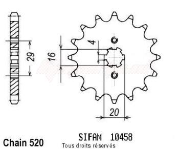 Product image: Sifam - 10458CZ13 - Sprocket Kawasaki Yamaha 125 Yz 1981-1986 10458cz   13 teeth   TYPE : 520