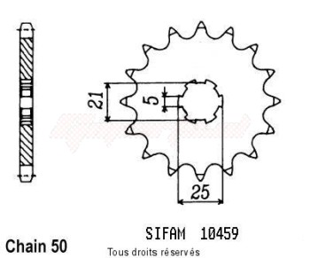 Product image: Sifam - 10459CZ16 - Sprocket Rd 350 Lc 80-82 Xs 400 Se 78-83 10459cz   16 teeth   TYPE : 530