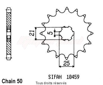Product image: Sifam - 10459CZ17 - Sprocket Rd 400 Dx 76-80   10459cz   17 teeth   TYPE : 530